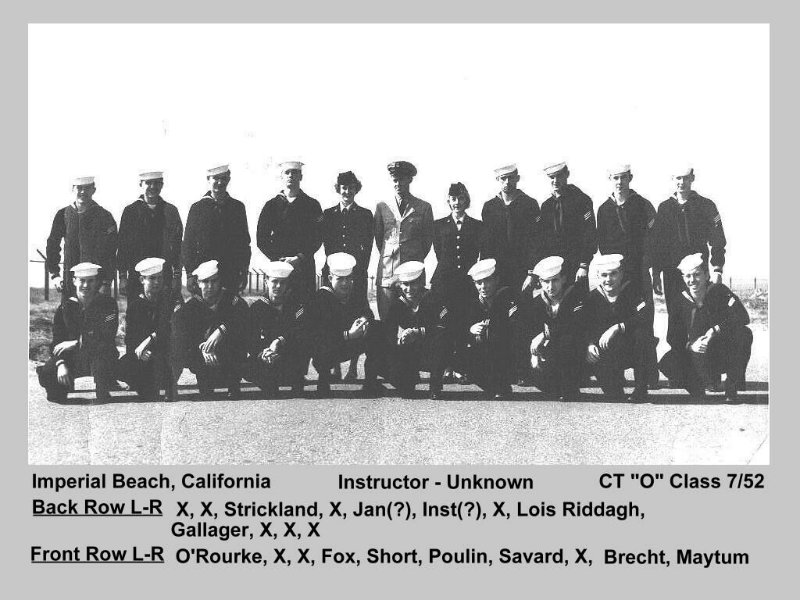 Imperial Beach (IB) Adv. Class ?-52(O) July 1952 - Instructor CTC unknown