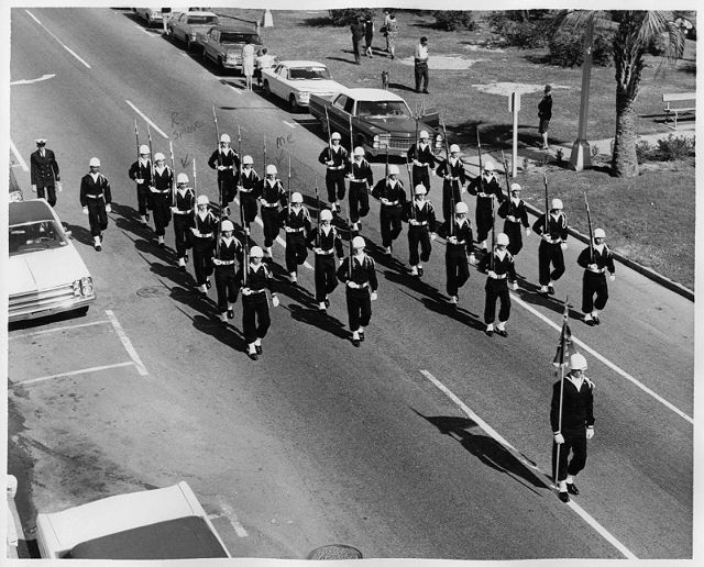 The Drill Team is downtown Pensacola, Veterans Day 1967.
